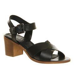 Office Double Dutch Sandal Black Leather - Mid Heels