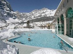 Leukerbad in the Valais region of Switzerland, the largest thermal resort in the Alps.