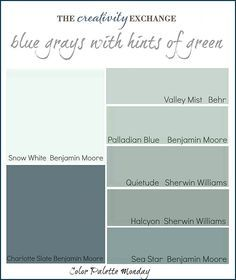 Printable color palette of gray blue paint colors with hints of green {Color Palette Monday #1} The Creativity Exchange