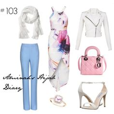 http://aminahshijabdiary.wordpress.com/ #hijab #fashion #style #look #ootd #dress #bikerjacket #pants #pink #white #blue