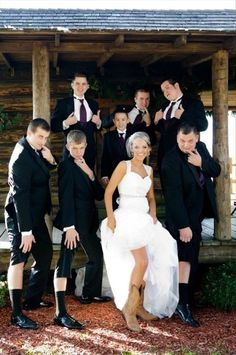 i love this!!!!!!!!! Doing it for sure! Country Bride and Her Groomsmen.