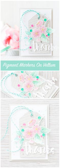 Winsor & Newton pigment markers on vellum. Find out more by clicking the following link: http://limedoodledesign.com/2015/12/pigment-markers-on-vellum/ flower card thanks