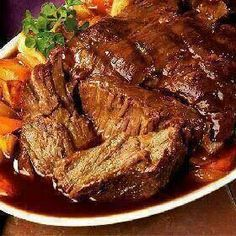 3 Envelope Beef Roast--★★★★1 envelope each--dry italian dressing, dry ranch dressing & dry brown gravy, 2 cups water & 3 # roast--mix the mixes & water together, brown roast if desired, place roast in slow cooker, pour mixture over & cook 4 hours on high or 8 hours on low