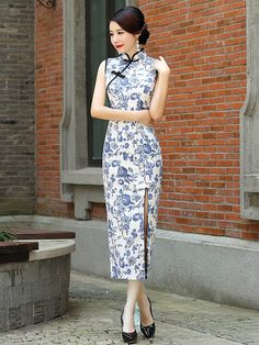 Blue Flora Qipao / Cheongsam Dress with Split Front