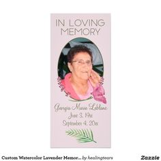 """Custom Watercolor Lavender Memorial Keepsakes Rack Cards. - Capture your heartfelt thoughts and feelings about your departed loved one. The back has a heartfelt funeral verse / poem. With light painted watercolor purple lavender flowers, a pink flower and a leaf on the bottom. Fully ready to be customized with the name and dates. """"God saw you getting tired and a cure was not to be so he put his arms around you and whispered, """"Come to Me"""" With tearful eyes we watched you and saw you pass away…"""
