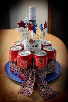 "Cute idea for someone who likes Rum and Coke.Rum and coke gift ""cake"" for a hostess gift or birthday. Could use more than just rum and coke to make these for gifts. Christmas Hamper, Diy Christmas Gifts, Holiday Gifts, Craft Gifts, Diy Gifts, Cute Gifts, Best Gifts, Coke Cake, Rum Cake"