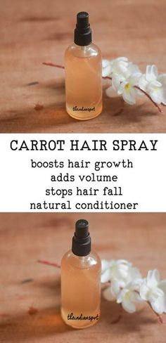 Thicker Hair CARROT HAIR SPRAY FOR THICKER HAIR - Thicker hair is something we all desire but factors like stress, using excessive hair products, chemical treatments, heat treatments, lack of essential nutrients etc. can make your hair thinner and la Natural Hair Tips, Natural Hair Styles, How To Grow Eyebrows, Hair Remedies, Perfume, Tips Belleza, Hair Health, Grow Hair, Diy Hairstyles
