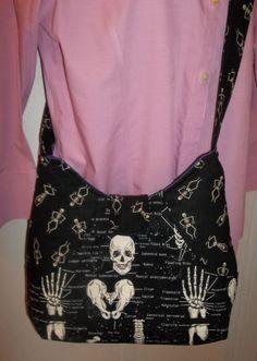 Halloween SKELETONS Glow in the Dark cross body bag purse Large Goth messenger #Handmade #MessengerCrossBody