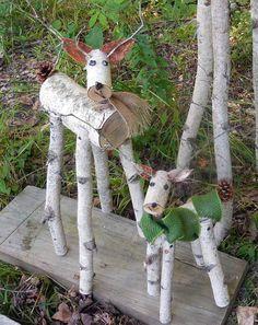 History Of Santa, Christmas History, Christmas Wood, Birch Tree Decor, Birch Branches, Birch Trees, Birch Bark, Wood Reindeer, Santa And Reindeer