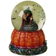 Halloween Jim Shore Brewing Up Trouble-Witch With Cat Musical Waterball Figurine. Click to order!