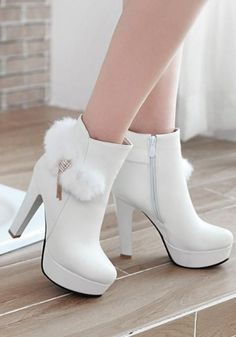 Available Sizes Shaft Height Heel Height Platform Height Heel Height :High Heel Type :Chunky Boot Shaft :Ankle Color :White Toe :Round Shoe Vamp :PU Leather Closure :Zipper footwears. Fancy Shoes, Pretty Shoes, Women's Shoes, Me Too Shoes, Top Shoes, 1950 Shoes, Shoes Style, Shoes Men, Black Shoes