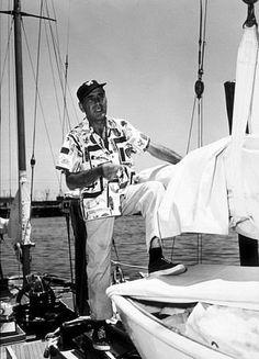 "Humphrey Bogart on his yacht, ""Santana,"" 1952"