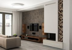 modern living room with wood effect wall decor, low TV stand and wooden columns, wall mounted flat screen and double sided fireplace - Living Room Decor Fireplace, Fireplace Tv Wall, Modern Fireplace, Fireplace Design, Fireplace Furniture, Tv Furniture, Furniture Storage, Wooden Columns, Living Room Designs