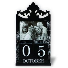Black Calendar Block Photo Frame