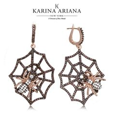 Black Widow Spiders on Web Earrings Shown with Brown and White CZ Accents KAE-B611 $390 #KarinaAriana #sterlingsilver #Ember #Passion #fashion #jewelry #earrings #web #BlackWidow #spider #Gothic #Halloween