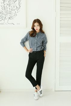 Button Dotted Blouse