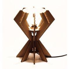 IKs35 lampada in cartone avana  Eco lampada in cartone rivestito e rinforzato AVANA,piano in plexiglass satinato, completa di cablaggio in tessuto ( CE ).  Only by www.maketank.it
