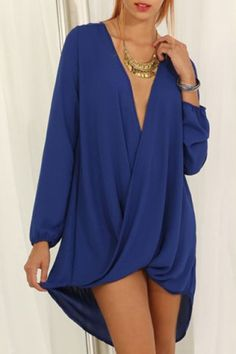 Sexy Plunging Neck 3/4 Sleeve Solid Color Asymmetric Dress For Women