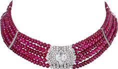 "CARTIER. ""Reine Makéda"" Choker - platinum, one 3.51 carat D IF rose-cut diamond, cabochon-cut and faceted ruby beads, calibrated diamonds, brilliant-cut diamonds. #Cartier #CartierRoyal #2014 #HauteJoaillerie #HighJewellery #FineJewelry #Ruby #Diamond"