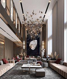 Cool Room Designs, Living Room Designs, Apartment Interior Design, Luxury Interior Design, Interior Dorado, High Ceiling Living Room, Home Room Design, Design Bedroom, Design Kitchen