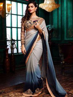 Hover to zoom  Smoke Georgette Grey Festive Wear Shaded Designer Sari