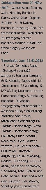Schlagzeilen vom 22 März 2012 / Tagesinfos zum 23.03.2012 (Headlines of March 22, 2012 / Today 's info on 23/3/2012) - http://www.schoeneswetter.com