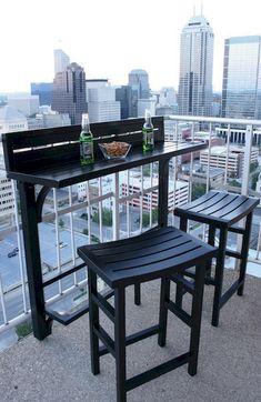 The Balcony Bar 3 Piece Furniture (Black) Patio Furniture Apartment Deck, Condo Balcony, Balcony Chairs, Tiny Balcony, Apartment Balcony Decorating, Apartment Balconies, Bedroom Balcony, Apartment Layout, Balcony Garden