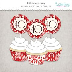 40th Anniversary Cupcake Decorations  DIY by whirligigspartyco