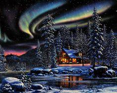 Winter scenery - Alaska by Thomas Kinkade Thomas Kinkade Art, Thomas Kinkade Christmas, Wallpaper Pc Hd, Wallpaper Backgrounds, Snow Scenes, Winter Scenes, Kinkade Paintings, Thomas Kincaid, Art Thomas
