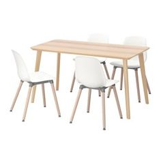 IKEA - LISABO / LEIFARNE, Table and 4 chairs, Easy to assemble as each leg has…