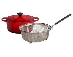 Le Creuset Signature Cherry Enameled Cast Iron 5.5 Quart Round French Oven with Stainless Steel Fry Basket