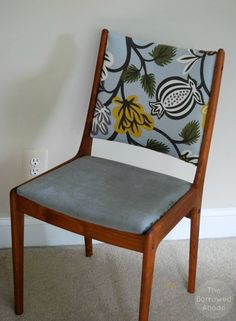 Uldum Mobelfabrik Chair from Denmark Reupholstering Danish Modern Chair Frames  I like the two different fabrics!