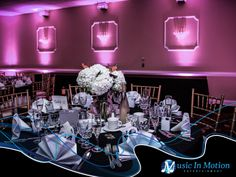 Architectural Lighting at Villa Bianca of Seymour, CT. Music In Motion is the provider of the lighting magic.