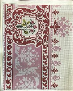 Cross Stitch Rose, Cross Stitch Borders, Cross Stitching, Cross Stitch Embroidery, Cross Stitch Patterns, Crochet Patterns, Palestinian Embroidery, Red Pattern, Persian Rug