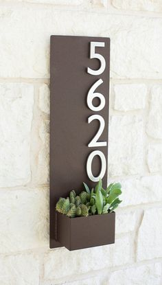 "8"" x 26"" Contemporary Brown Succulent Hanging Planter & Metal Address Plaque - Vertical Wall Planter with Brushed Aluminum Address Numbers  $180.00    I think this would be a great VERTICAL IDEA  adjacent to the right of the FRONT DOOR"