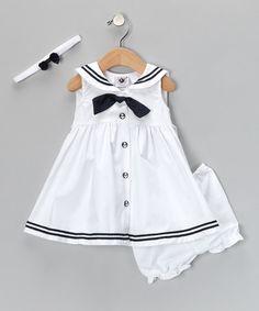 White Nautical Dress Set - Infant, Toddler & Girls