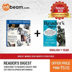 Reader's Digest 1 Year Subscription at Lowest Rate from Infibeam's Magic Box !  OFFER : Subscribe To Reader's Digest & Get Encyclopedia Britannica - Great Minds DVD Worth Rs.499 FREE !  Assuring Lowest Price in Magic Box Deals !   HURRY OFFER VALID FOR TODAY ONLY !!  #MagicBox #Deals #DealOfTheDay #Offer #Discount #LowestRates #Subscription #ReadersDigest #Encyclopedia #Britannica #DVD #FREE