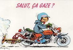 """carte postale Gaston Lagaffe:S""""alut, ça gaze?"""""""