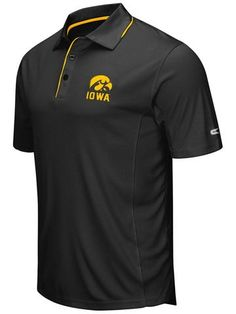 Shop Iowa Hawkeyes Colosseum Black Polyester Performance Short Sleeve Golf Polo Shirt