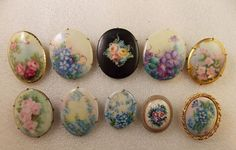Mixed Lot of 10 Vintage Antique Oval Floral Pins Brooches Pink Purple Blue | eBay