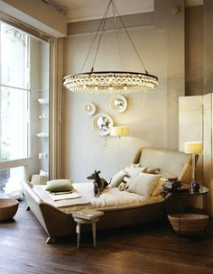 Love the ceiling light, maybe a hula hoop painted black and use Christmas icicle  light string/s