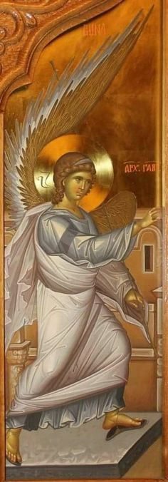 Archangel Gabriel at the Annunciation Byzantine Icons, Byzantine Art, Religious Icons, Religious Art, Archangel Sandalphon, Angel Protector, Greek Icons, Angels Beauty, Christian Artwork