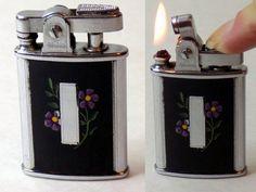 1950s Ronson Gem Lighter Working Black Enamel by VintageTobacciana