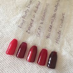 Red carpet manicure colour swatches reds