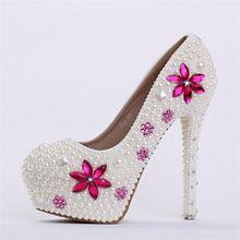 Nouvelle main fashin ivoire chaussures de mariage cristal bout rond talons hauts robes de mariée chaussures strass rose de demoiselle d'honneur robe pompes(China (Mainland))