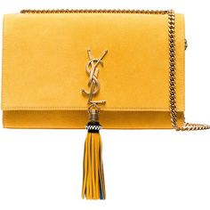 Saint Laurent Yellow suede Kate Monogram Shoulder Bag ($2,535) ❤ liked on Polyvore featuring bags, handbags, shoulder bags, shoulder bag purse, yellow purse, monogrammed purses, shoulder hand bags and yellow handbags