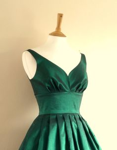 Emerald Green Taffeta Prom Dress  Made by Dig For by digforvictory, £105.00