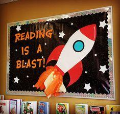 Rocket Bulletin Boards, Space Bulletin Boards, Summer Bulletin Boards, Reading Bulletin Boards, Preschool Bulletin Boards, Space Theme Classroom, Reading Corner Classroom, Space Reading Corner, Classroom Board