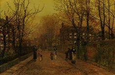 A Village Street on Sunday Even - John Atkinson Grimshaw