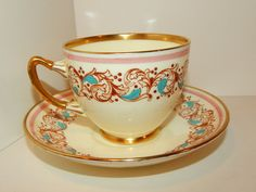 Adderly Pink, Aqua Blue, and Gold Teacup & Saucer Bone China Made in England #Adderly